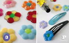 melted beads on hair clips