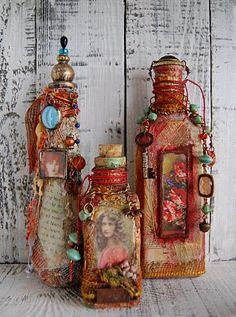 Pinner said: decorate bottles with old pictures and put lace and different beads around the bottle. Gives it a vintage look, and a great decoration piece!  But in neutral tones