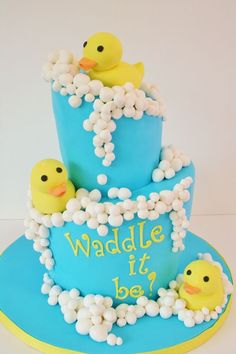 """""""Waddle it be?"""" Rubber Ducky Baby Shower Cake-gender reveal idea"""