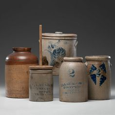 American,19th. Century...an assembled set of five stoneware vessels.