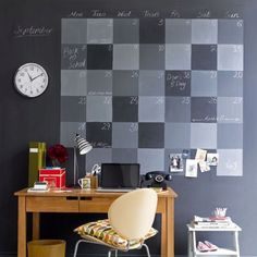 Use chalkboard paint to paint calendar on the wall
