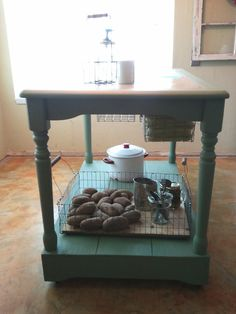 Add a base; turn a kitchen table into a kitchen island.  Great idea!