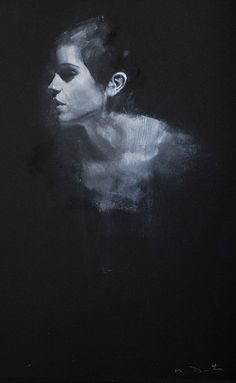 Mark Demsteader #portrait #painting #black #white #woman #face
