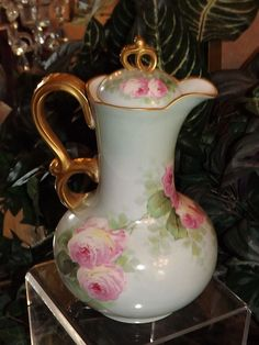 Limoges Fabulous Chocolate Pot with Pink Roses Signed Master French from allthingslovelee on Ruby Lane