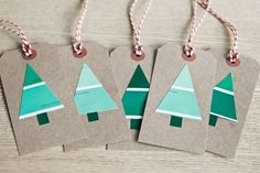 Use paint chips to make gift tags. holiday, chip, gift wrapping, paint swatches, card, paint samples, christmas trees, christmas gift tags, christmas gifts