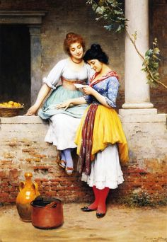 The Love Letter by Eugene de Blaas. #classic #art #painting #women