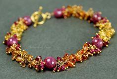 SEDONA SUNRISE  Ruby Padparadscha sapphires by melanielanddesigns, $256.00