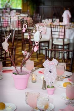 pretty pink bird themed girl baby shower potted tree branch centerpiece