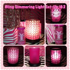 A little Pink Zebra Bling from Sprinkle My Candles~ http://zebracandlesprinkles.com http://www.facebook.com/sprinklemycandles #pink #candles #bling