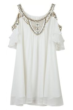 Beaded Off Shoulder Falbala Dress