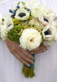 white flowers, blue flowers, color combos, wedding bouquets, blue green