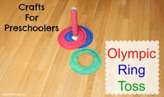 Crafts for Preschoolers - Olympic Ring Toss Game Just in time for the #Olympics have fun with your kids creating this DIY craft that will keep them entertained Olympic Crafts