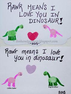 Handprint and Footprint Art : Valentine's Day Cards {Thumbprint Art}