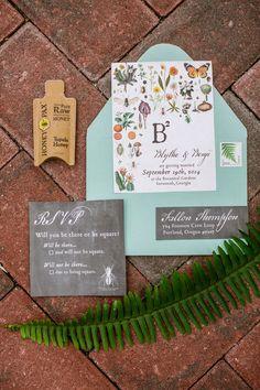 botanical wedding invitations , photo by Izzy Hudgins Photography http://ruffledblog.com/bohemian-wedding-inspiration-with-a-botanical-twist #weddinginvitations #stationery