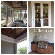 Screened porch; dark/light wood