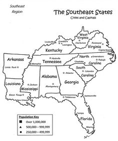 Free Printable Maps Of The Southeastern US Map Of Southeast - Capital map of usa