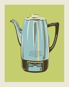 Coffee Pot (Lime) print by Methane Studios