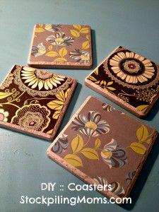 #DIY :: Tile Coasters - A great gift idea!  www.stockpilingmo... gift ideas, diy tile coasters