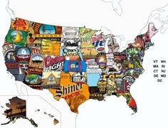 beer map, usa map, stuff, usa beer, maps, drink, thing beer, beer labels, kitchen wall