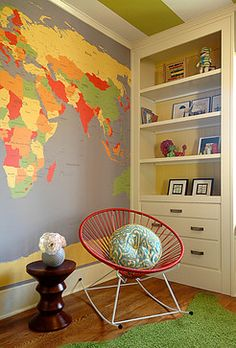 World Map Mural Wallpaper Kids Design Ideas, Pictures, Remodel and Decor