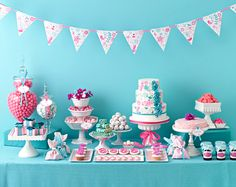 Aqua and pink dessert table. #dessert #table