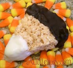 Chocolate Dipped Candy Corn Rice Krispie Treats