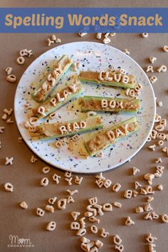 literacy snack, food, learn fun, spelling words, kid