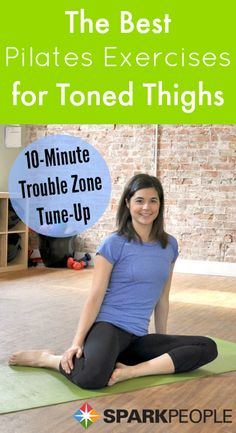 Strengthen and tone your hips, butt and thighs without equipment using these targeted Pilates exercises! | via @SparkPeople #fitness #workout #thigh #leg #video