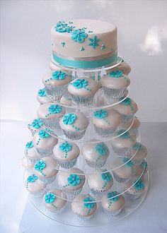 savori recip, blue flowers, wedding cupcakes, wedding cakes, blue weddings, cupcake cakes, small cakes, blues, cupcake towers