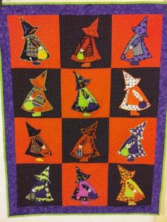 Sunbonnet Sue Halloween Quilt by TheWickedQuilter on Etsy, $160.00