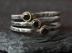 Oh, love!  Black Diamond Stacking Ring by LexLuxe on Etsy, $168.00