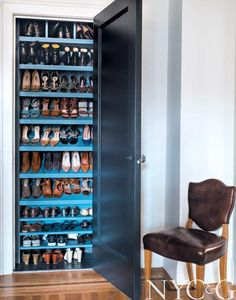 Closet converted into shoe heaven in the home of Michelle Smith of Studio MRS #closet #shoestorage #shoecloset