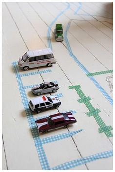 Washi Tape for kids: tape the floor to play with cars.