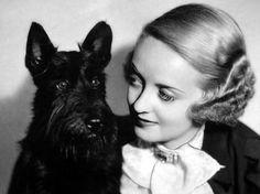 Bette Davis and her Scottish Terrier