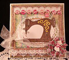 CottageBLOG: Vintage Sewing Machine (Cottage Cutz Dies: Vintage Sewing Machine 4x4; Oval Doily & Frame; Dress Form Mini).