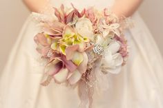 Pearl Bridal Vintage Inspired Blush Pink Fabric Flower and Brooch Wedding Bouquet 'Anabella'. £150.00, via Etsy.