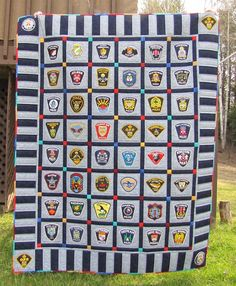 Quilt made with Police badges... would like to try this with military patches