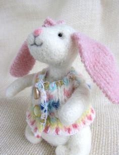 Needle Felted Spring Bunny  by:-kriskeese