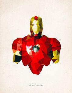 Polygon Heroes por James Reid, superhéroes para la pared