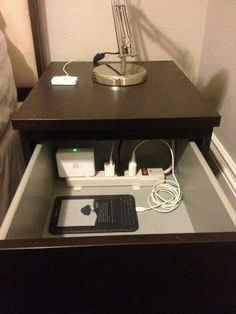 Power strip on nightstand to get rid of clutter