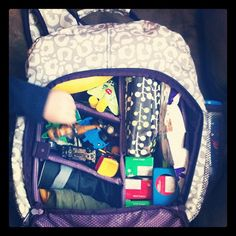 Organizing Pack carrying kids' toys and snacks on the go!