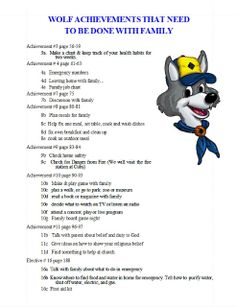 Akela's Council Cub Scout Leader Training: PRINTABLE & EDITABLE Wolf Achievements That Need To Be Done With The Family
