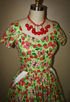Green & Pink Rockabilly DressFull SkirtButterfly by Morningstar84, $95.00