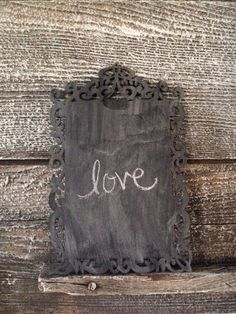 Small Ornate Shabby Chic Wood Chalkboard by takintime on Etsy, $9.00