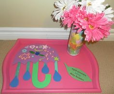 "Letter U and V craft:  U for Umbrella and V for Vase.  ""April Showers Bring May Flowers"""