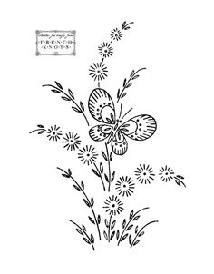 Daisies, Butterflies and Bonnet Embroidery Transfer Patterns