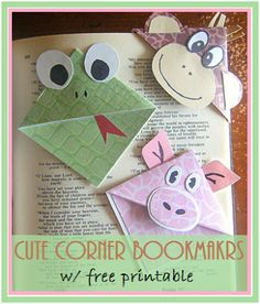 FREE PRINTABLE to go with these Cute Corner Bookmarks!