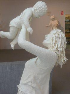 Love Nurtured by Love - Paper mache sculpture by Pam Thorne and Ruth Rees, at Creative Paper, Burnie, Tasmania