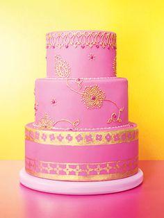 Pink & Gold Indian Inspired Wedding Cake