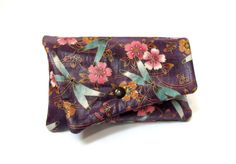 Clutch wallet dragonfly purple Japanese floral by Patchtique, $18.00